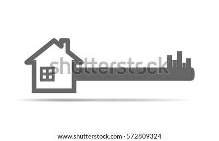 Silhouette of key with house. House key icon. Vector illustration. Real estate concept with house and key