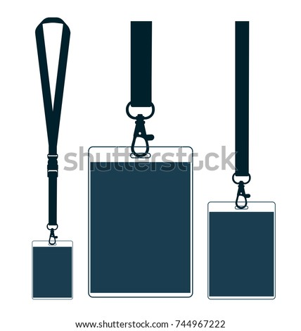 Silhouette of lanyard with neckband. Flat color symbol. Vector Illustration