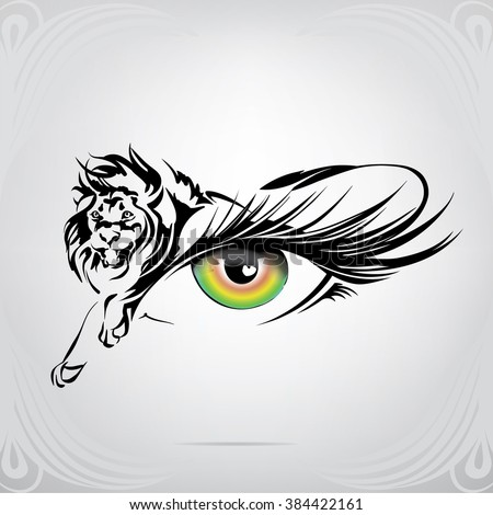 silhouette of lion on an eye