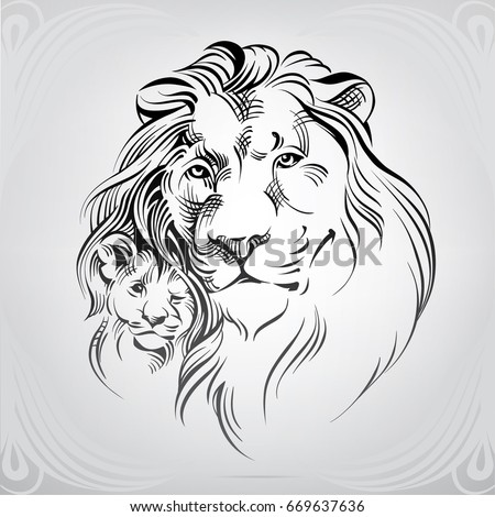 silhouette of lion with the