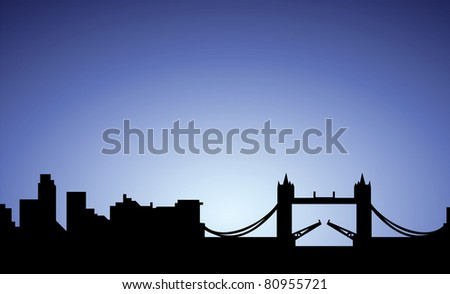 silhouette of london city