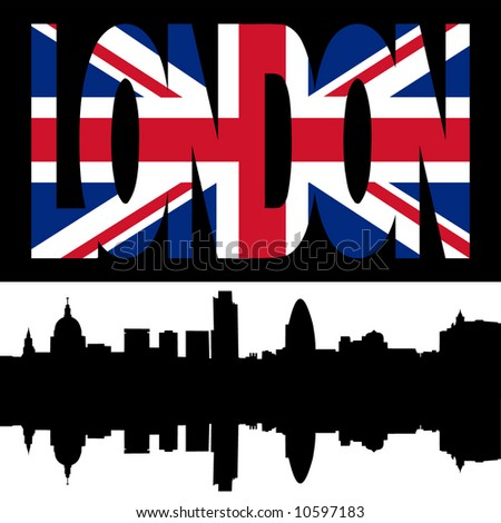 stock vector : silhouette of London Skyline and London flag text