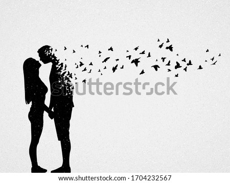 Silhouette of lovers and flying birds. Conceptual vector illustration about loss of loved one, loneliness and death. Sad mystical background for design, prints, covers, t-shirts