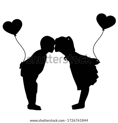 silhouette of lovers boy and