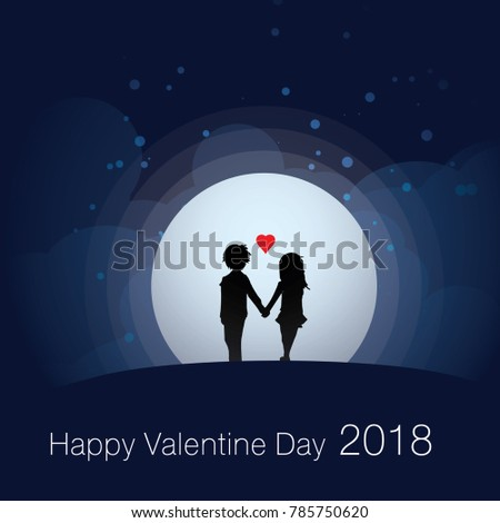 silhouette of lovers holding hand walking on the field at night #785750620