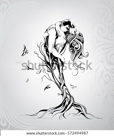 silhouette of lovers in a tree
