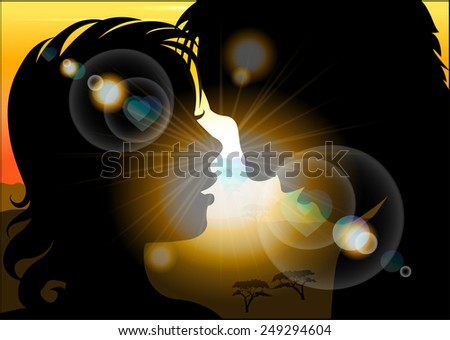 silhouette of lovers on a