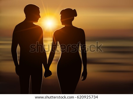 silhouette of loving couple at