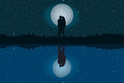 Silhouette of loving couple. Lovers at night on beautiful landscape with reflection. Full moon in starry sky. Moonlit night. Valentines Day. Happy Lovers. For card or poster. Stock vector illustration