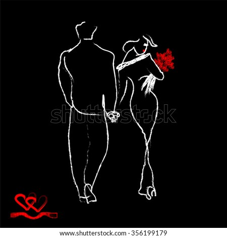 silhouette of loving couples