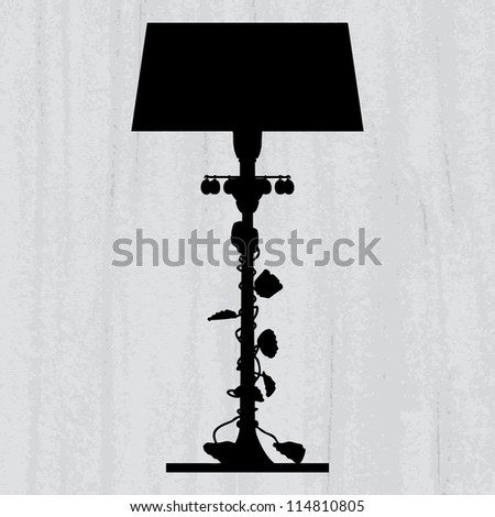 silhouette of luxury lamp on a scratched grey wallpaper/ template design of invitation with luxury lamp