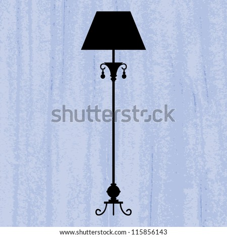 silhouette of luxury standard lamp on a scratched blue wallpaper/ template design of invitation with lamp