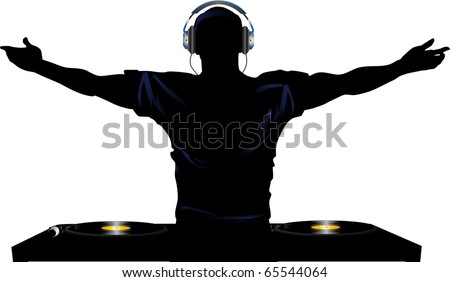 silhouette of male DJ wearing headphones in front of record decks