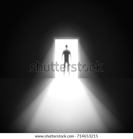 silhouette of man and open door