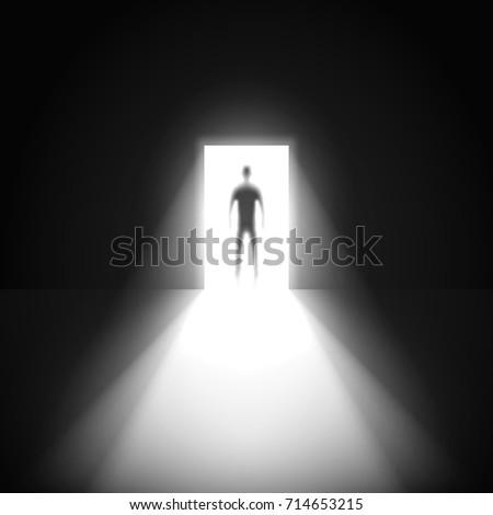 silhouette of man and open door