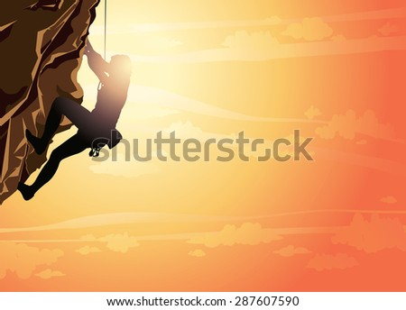 Silhouette Image Of Wall Climbing - Download Free Vector Art, Stock ...