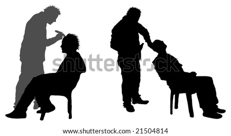 Silhouette of man having head shaved