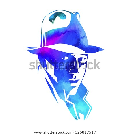 silhouette of man in a hat and