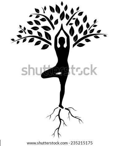 silhouette of man in tree pose