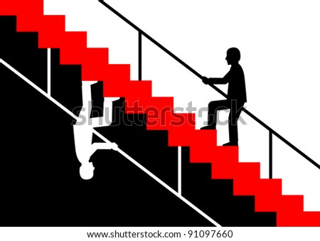 Silhouette of man on staircase