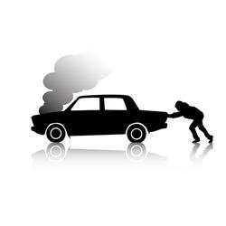 Silhouette of man pushing a broken car steaming