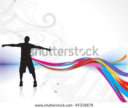 silhouette of man raising his hands with rainbow wave line background, vector illustration, no mesh in this vector