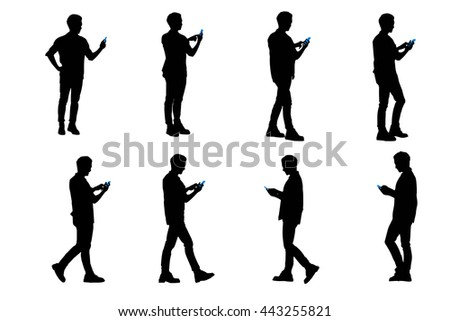 silhouette of man use smart