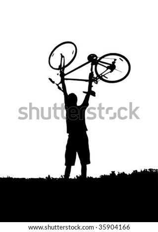 Silhouette of man with bike on white background vector illustration
