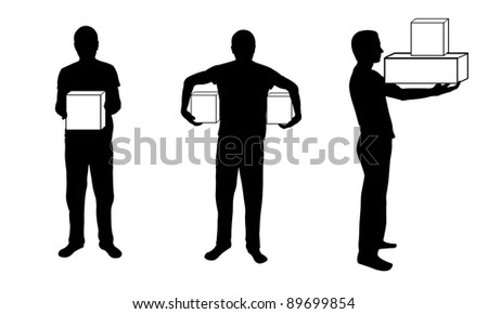 silhouette of man with box in different positions