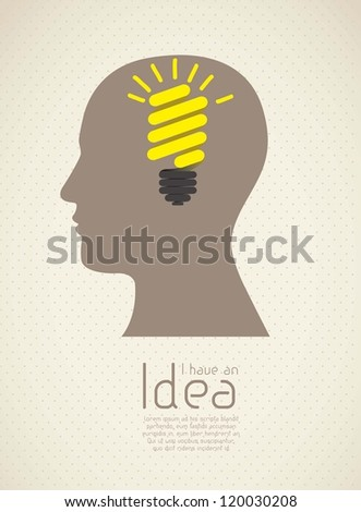 Silhouette of man with bulb representing an idea, vector illustration