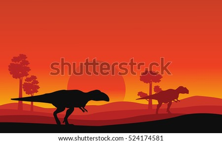 silhouette of mapusaurus orange