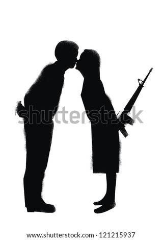 silhouette of marriage couple