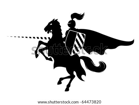 silhouette of medieval knight