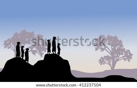 silhouette of meerkat family in