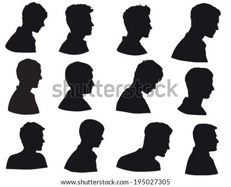 Silhouette of men head, face in profile, Isolated on white background