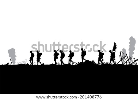silhouette of military defeated