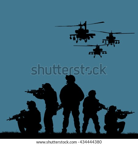 Silhouette of military rangers with weapons during the raid. shot, holding gun, colorful sky, color background