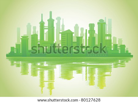 Silhouette of modern city with skyscrapers and reflection in the water on a green background