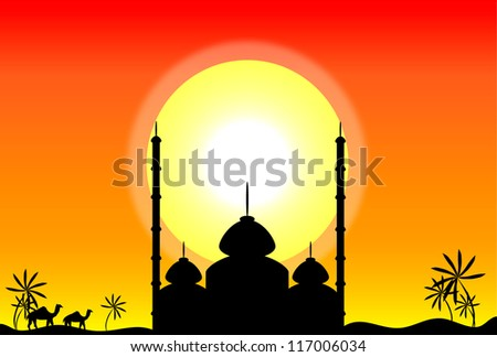 Silhouette of mosque at sunset, illustration