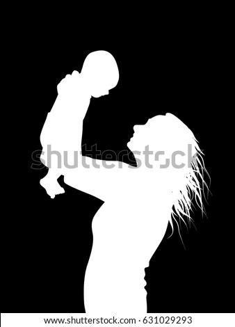 silhouette of mother and baby. Happy Mother's Day. Vector