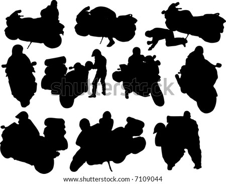 silhouette of motorbikes