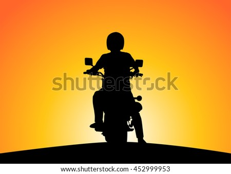 silhouette of motorcyclists on