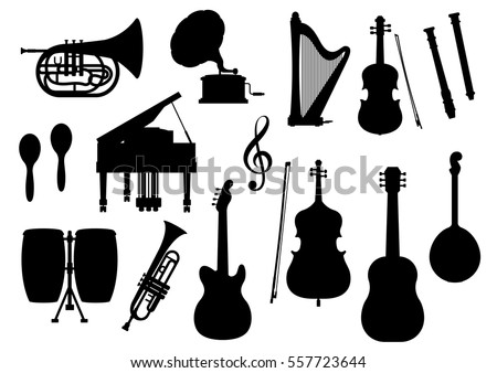 Silhouette of musical instruments. Vector icons of harp, contrabass and piano, maracas, saxophone and gramophone, jembe drums, jazz trumpet, acoustic guitar and banjo or lute, violin bow, flute