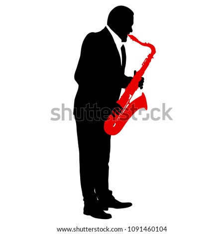 Silhouette of musician playing the saxophone on a white background
