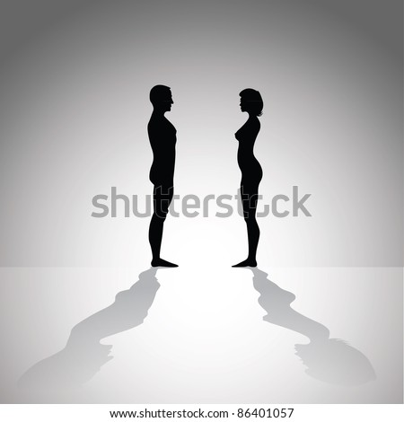 silhouette of naked man and woman body - illustration