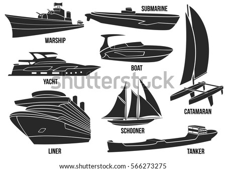 Silhouette of naval ships. Marine navy transportation military shipping boats, cargo, logistics, transportation vector illustration. Boat, warship, yacht, submarine, schooner, liner, tanker, catamaran