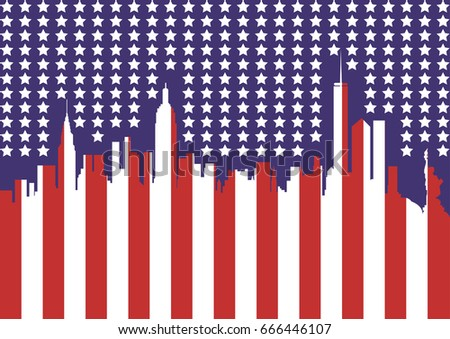 Silhouette Of New York City Usa Flag Symbol For Independents Day