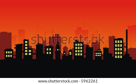Silhouette of night city on red background