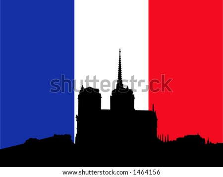 Silhouette of Notre Dame and French Flag