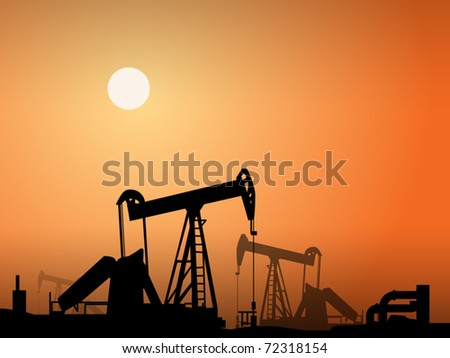 Silhouette of oil pumps, vector illustration